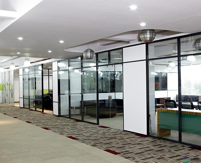 郑州双玻内置百叶铝合金玻璃隔断安装